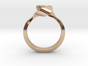 Twist Interlock Ring_A in 14k Rose Gold Plated Brass: 9 / 59
