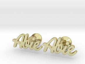 "Custom Name Cufflinks - ""Abie"" in 18k Gold Plated Brass"