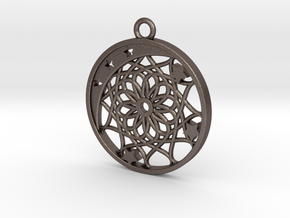 Moon, Stars and Dream Catcher Pendant in Polished Bronzed Silver Steel