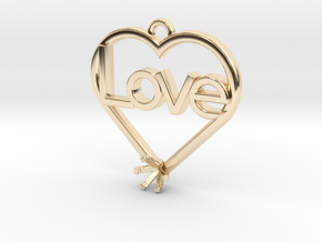 "Heart Pendant ""Love"" (Mount 4.28mm) in 14K Yellow Gold"