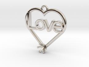 "Heart Pendant ""Love"" (Mount 4.28mm) in Platinum"