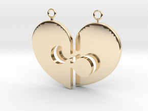 Heart Necklace Halves in 14K Yellow Gold