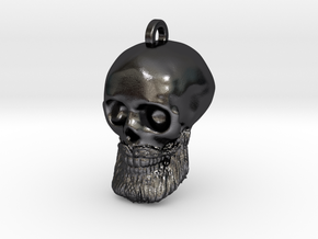 George's Skull Keychain/Pendant in Polished and Bronzed Black Steel