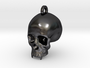 Vampire Skull Keychain/Pendant in Polished and Bronzed Black Steel