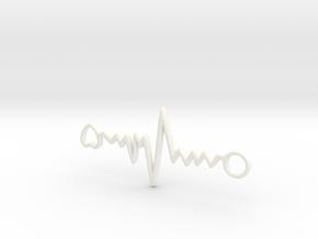 Heart Beat Pendant in White Processed Versatile Plastic