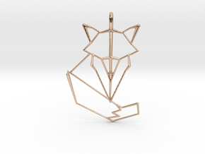 Woodland Animal Minimal Geometric Fox Necklace Pen in 14k Rose Gold Plated Brass: Medium