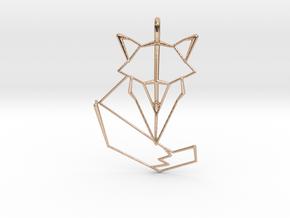 Woodland Animal Minimal Geometric Fox Necklace Pen in 14k Rose Gold Plated Brass: Medium