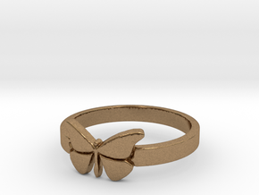 Butterfly (small) Ring Size 7 in Natural Brass