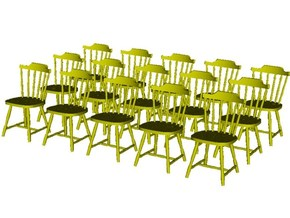 1/48 scale wooden chairs set A x 15 in Smooth Fine Detail Plastic