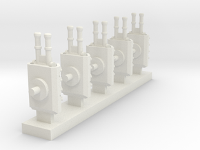 Heavy Armoured Turrets x5 in White Natural Versatile Plastic