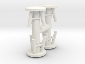 Stool (x4) 1/56 in White Natural Versatile Plastic