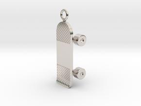 Skateboard Charm (Pendant) in Rhodium Plated Brass