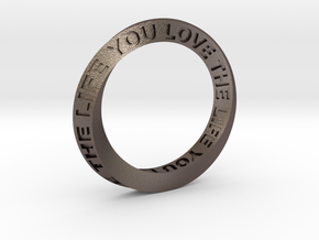 Live The Life You Love - Mobius Ring in Polished Bronzed Silver Steel