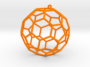 fullerene bauble ornament in Orange Processed Versatile Plastic