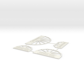 Dystopian Wars Turn Templates in White Natural Versatile Plastic