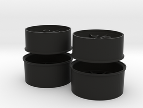 Wheel set for the Eaglemoss 1:8 scale DeLorean in Black Natural Versatile Plastic