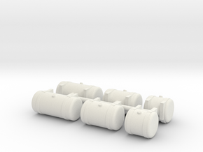 1/50th Builders Pack of 6 truck fuel tanks in White Natural Versatile Plastic