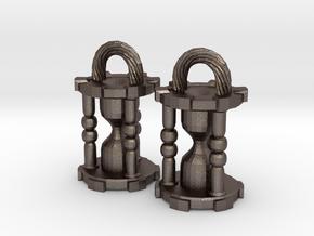 Hourglass Earrings in Polished Bronzed Silver Steel