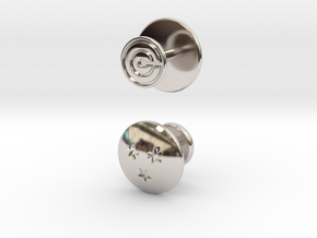 Dragon Ball - Capsule Cufflinks - V2 (3 stars) in Rhodium Plated Brass