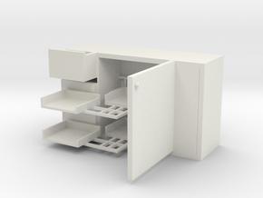 Corner full-opening cabinet in White Natural Versatile Plastic: Small