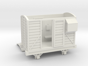 OO9 Brake Van - Open Door in White Natural Versatile Plastic