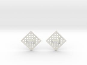 Chess Earrings - Rook in White Natural Versatile Plastic