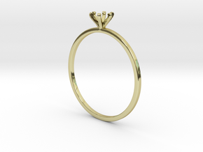 Plain Size 7 Ring - 4mm Gem - 6 prong - v1 in 18k Gold