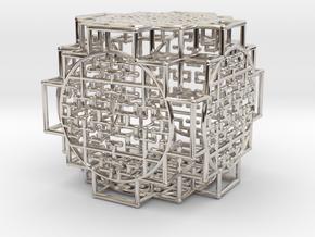 Shipibo Tesseract in Rhodium Plated Brass
