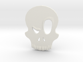 Eyebrow Skull Pendant (Small) in White Natural Versatile Plastic