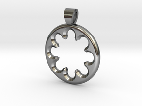 Rosette type 1 [pendant] in Polished Silver