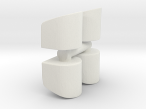 Rounded Chair (x4) 1/72 in White Natural Versatile Plastic