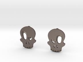 Eyebrow Skull Earrings in Polished Bronzed Silver Steel