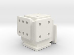 Shifted Die (Small) in White Natural Versatile Plastic