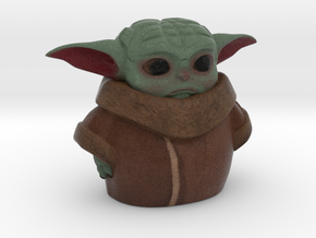 baby yoda 75 mm / 3 inches in Natural Full Color Sandstone