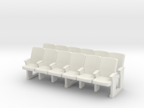 Cinema seats 01 . 1:43 Scale (HO) in White Natural Versatile Plastic
