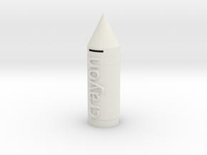 Crayon Money Box in White Premium Versatile Plastic: Medium