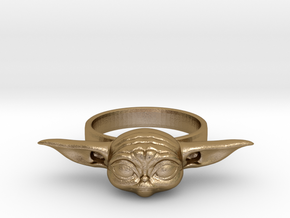 The Child Ring size6 Baby Yoda in Polished Gold Steel