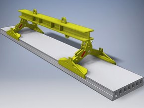 Lifting beam with clamps for Hollow Core Slab in White Natural Versatile Plastic