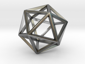 Wireframe Polyhedral Charm D20/Icosahedron in Polished Silver