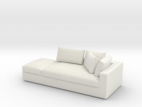 Modern Mini 1:24 Sofa in White Natural Versatile Plastic: 1:24
