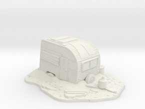 Wargaming Scenary Post-Apocalypse Camping Caravan  in White Natural Versatile Plastic