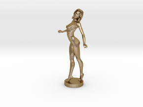 Sexy Nude Lady in Polished Gold Steel