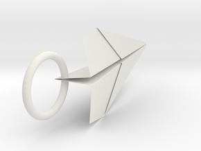 紙飛機小吊飾 in White Natural Versatile Plastic