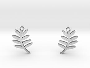 Fern Leaf Earrings in Natural Silver