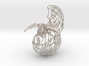 European Dragon egg pendant in Rhodium Plated Brass