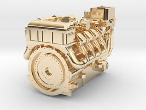 1380HP V8 Diesel Turbocharged Industrial Engine in 14k Gold Plated Brass: 1:48 - O