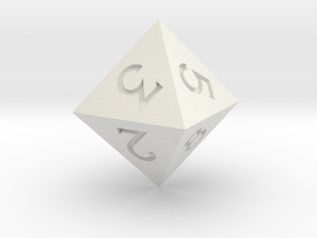 Sharp Edged d8 - Polyhedral Dice - 8 Sided Die in White Natural Versatile Plastic