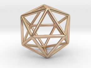 Icosahedron Pendant in 14k Rose Gold Plated Brass