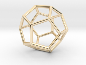 Dodecahedron Pendant in 14k Gold Plated Brass