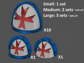 Shoulderpad Pauldrons Templar Crusaders- Standard  in Smooth Fine Detail Plastic: Small